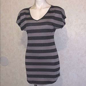 Maurices tunic striped tee small gray